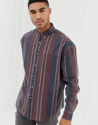 Asos Design DESIGN oversized 90's style denim stripe shirt