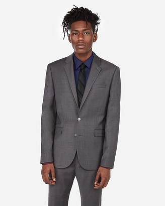 Express Extra Slim Gray Flannel Wool-Blend 365-Comfort Suit Jacket
