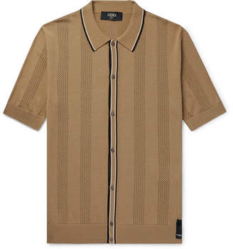 Fendi Contrast-Tipped Perforated Stretch-Knit Polo Shirt - Men - Tan
