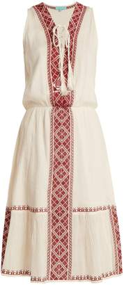 Melissa Odabash Gwyneth lace-up embroidered-cotton dress