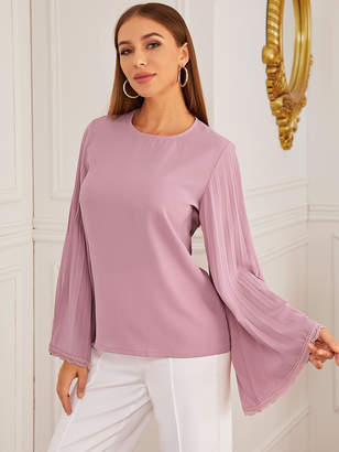 Shein Lace Cuff Pleated Sleeve Solid Blouse