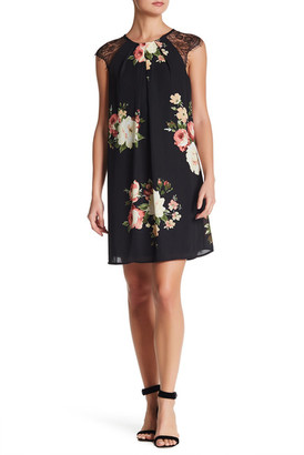 Bobeau Flower Print Lace Sleeve Dress $68 thestylecure.com