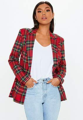 Missguided Red Plaid Oversized Blazer