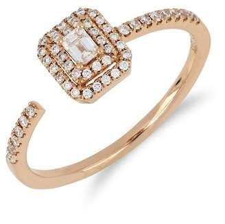Bony Levy 18K Rose Gold Faceted Baguette & Halo Set Diamond Detail Open Ring - 0.30 ctw