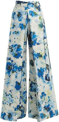 BY. BONNIE YOUNG Floral-print wide-leg cotton-blend wrap trousers