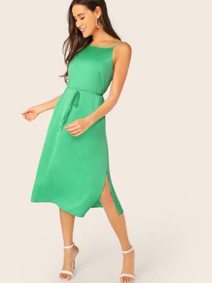Shein Low Back Split Side Self Belted Satin Dress