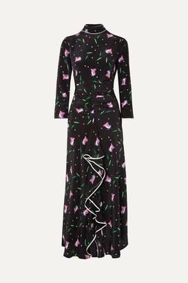 RIXO London - Gabriele Ruffled Floral-print Silk Crepe De Chine Maxi Dress - Black