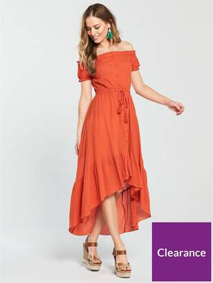 Very Button Up High Low Cheesecloth Dress - Rust