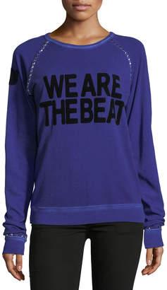 Neiman Marcus Freecity/Sparrow We Are The Beat Fuzzy Studded Raglan Sweatshirt