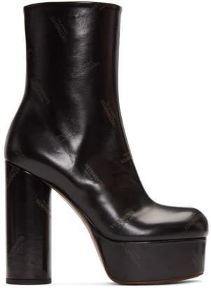 Vetements Black Logo Platform Boots