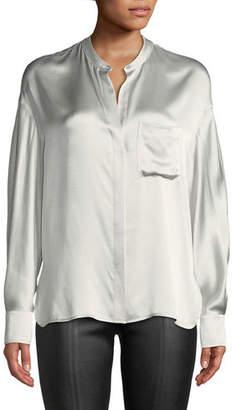 dfb83e18807de Vince Silk Single-Pocket Long-Sleeve Blouse