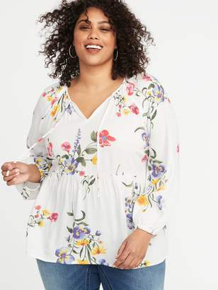 Old Navy Floral-Print Crepe Plus-Size Swing Blouse