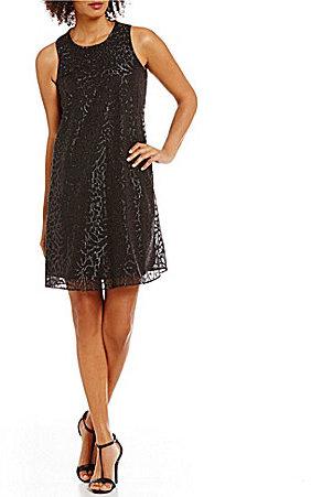 Calvin KleinCalvin Klein Burnout Sequin Round Neck Sleeveless Trapeze Dress