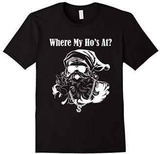 """""""Where my Ho's At?"""" Funny Rapping Gangster Santa Claus Shirt"""
