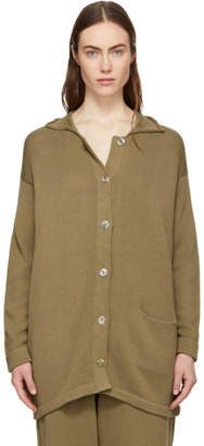 LAUREN MANOOGIAN Brown Button Long Cardigan