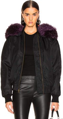 Mr & Mrs Italy Quilt Lining Jacket with Silver Fox Fur in Black & Plum | FWRD