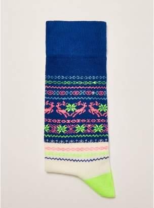 Topman Mens Blue Christmas 'Neon Fair Isle' Socks