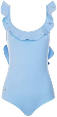 Frill Detail Swimsuit, Blue, IT 40