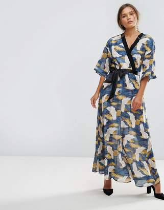 Liquorish Bird Print Wrap Maxi Dress