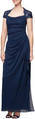 Alex Evenings Lace Yoke Ruched Gown