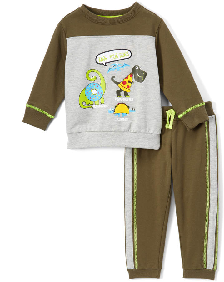 Gray & Olive 'Know Your Dinos' French Terry Top & Pants - Infant & Toddler