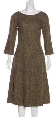 Dolce & Gabbana Wool Long Sleeve Midi Dress