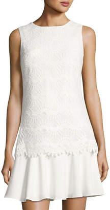Tahari ASL Drop-Waist Lace-Overlay Dress