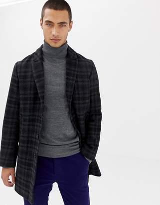 Lindbergh wool overcoat in grey check