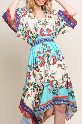 Umgee USA Floral Waist-Tie Dress