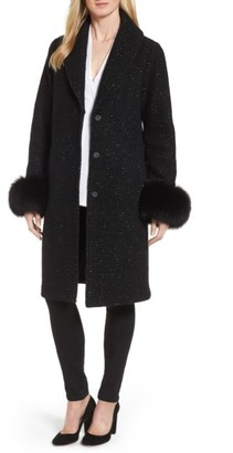 Women's Elie Tahari Grace Genuine Fox Fur Trim Knit Wool Blend Long Coat $595 thestylecure.com