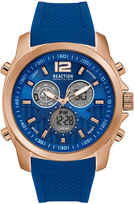 Kenneth Cole Reaction Mens Blue Silicone Strap With Rose Gold Case And Ana Digi Dial