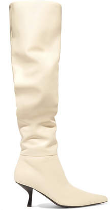 The Row Bourgeoise Leather Knee Boots - Ivory