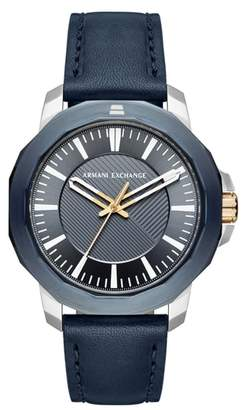 AX Armani Exchange Three-Hand Leather Strap Watch, 44mm x 52mm