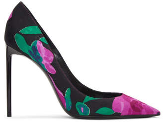 Saint Laurent Black Floral Zoe Pumps
