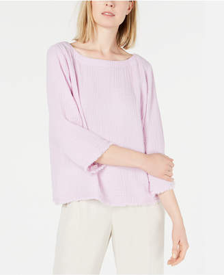 Eileen Fisher Organic Cotton 3/4-Sleeve Crinkle Top, Regular & Petite