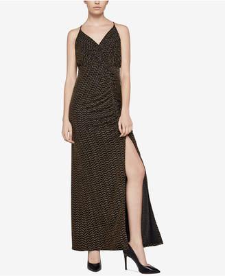 BCBGeneration Metallic Faux-Wrap Maxi Dress