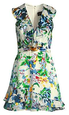 Saloni Women's Cece Ruffle Floral Mini Dress - Size 0