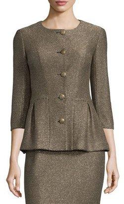 St. John Collection Casablanca Glimmer-Knit Peplum Jacket, Caviar/Gold $1,695 thestylecure.com