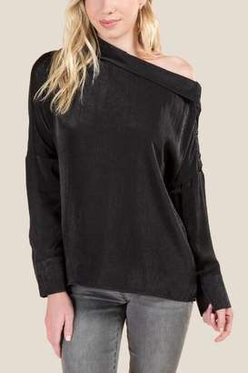 francesca's Larina Off Shoulder Blouse - Black