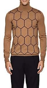Boglioli Men's Honeycomb Virgin Wool Turtleneck - Camel