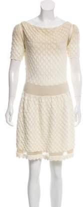 Nina Ricci Metallic Crochet Knit Dress