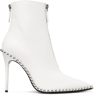 Alexander Wang - Eri Embellished Leather Ankle Boots - White