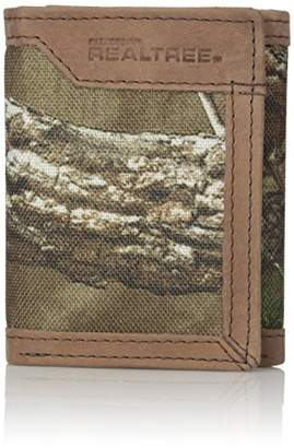 Realtree Men's Leather Canvas Trifold Wallet