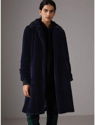 Burberry Faux Fur Single-breasted Car Coat