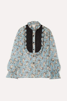 Anna Sui Ruffled Crochet-trimmed Printed Silk-chiffon Blouse - Light blue