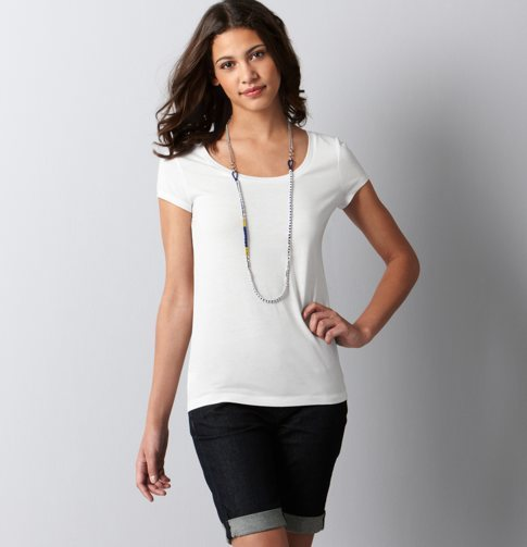 Petite Basic Scoop Neck Tee