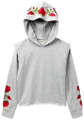 Hudson Cropped Hoodie with Floral Embroidery (Big Girls)