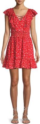 Parker Floral-Print V-Neck Mini Dress