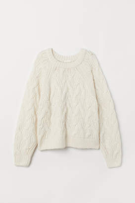H&M Cable-knit Sweater - White