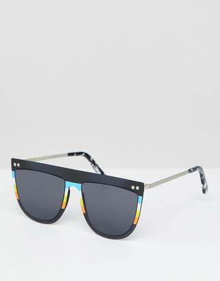 Spitfire Flat Brown Sunglasses In Black